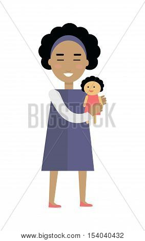Playful child vector. Flat design. Smiling girl with black curly hair and in blue dress standing with doll in hands. Traditional toys to play motherhood. For childhood concepts. Isolated on white