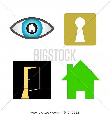 Home finder vector logo design. Real estate searching vector icon set. Logotype symbols. Logo icon design