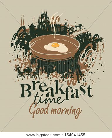 vector banner for a restaurant with breakfast with a frying pan and fried eggs on the background of the old town