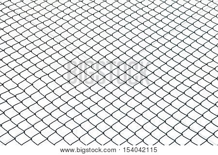 Wired fence isolated on white background, jail