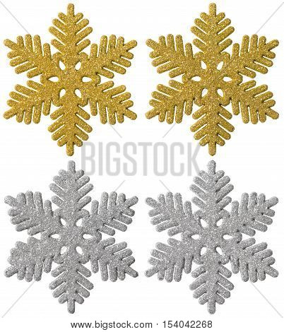 Snowflake Christmas Decoration Xmas Decorative Set Gold Silver Sparkles Snow Flake White Isolated