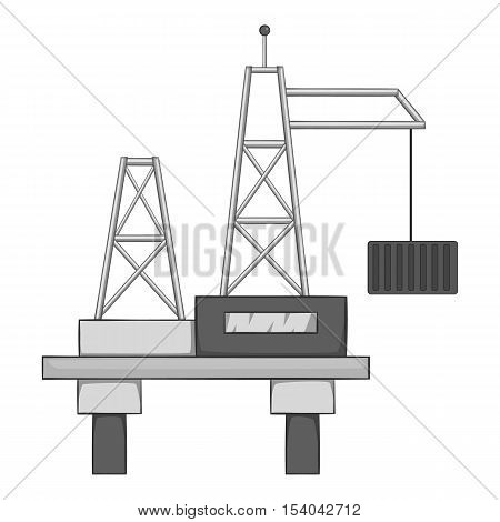Oil offshore platform icon. Gray monochrome illustration of oOil platform vector icon for web design
