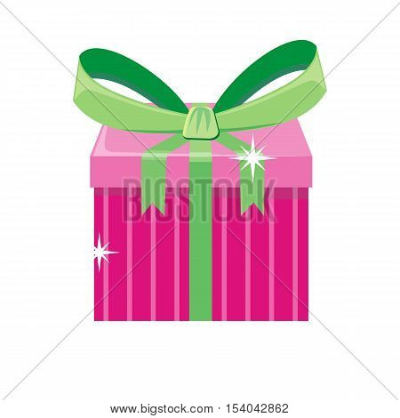 Christmas pink gift box with green bow isolated. Cartoon present in xmas holiday concept. Gift box surprise for anniversary or birthday. Funny illustration for children holiday celebration. Vector