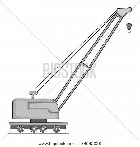 Lifting crane icon. Gray monochrome illustration of crane vector icon for web design