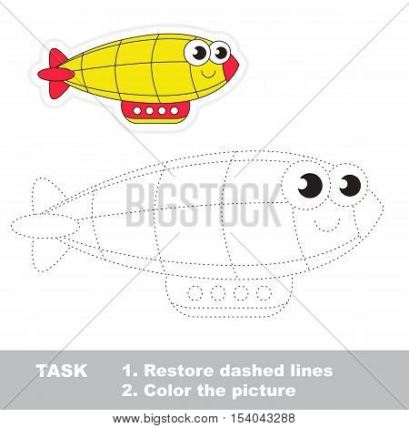 Yellow Zeppelin in vector to be traced. Easy educational kid game. Simple game level. Restore dashed line and color the picture. Trace game for children.