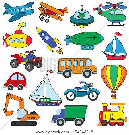 Toy Transport set in vector, the colorful version. Toys for kid games.