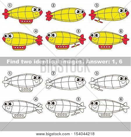The design difference. Vector visual game for kid education. Simple level of difficulty. Easy educational game. Task and answer. Find two similar Funny Zeppelins