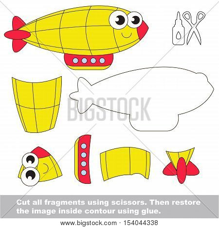 Use scissors and glue and restore the picture inside the contour. Easy educational paper game for kids. Simple kid application with Yellow Zeppelin.