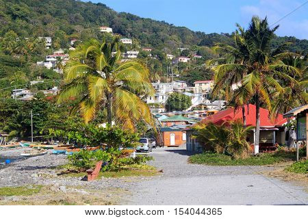Scotts Head fishing village in Dominica, Caribbean Islands It's the meeting point of Atlantic Ocean and Caribbean Sea (Soufriere Bay) and famous of snorkeling and diving places.