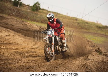 24 september 2016 - Volgsk, Russia, MX moto cross racing - Bike rider, telephoto