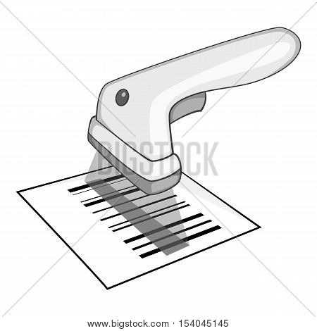 Barcode scanner icon. Gray monochrome illustration of barcode scanner vector icon for web design