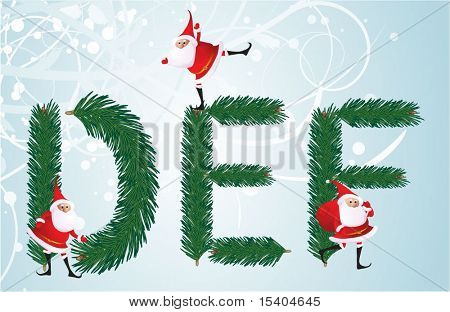 Christmas decorative fir-tree ABC with funny Santas. Letters D, E, F. Vector.