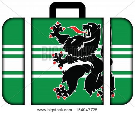 Flag Of East Flanders Province, Belgium. Suitcase Icon, Travel And Transportation Concept