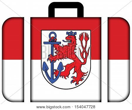 Flag Of Dusseldorf, Germany. Suitcase Icon, Travel And Transportation Concept