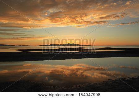 Sunset at Great Salt Lake, Salt Lake City, Utah, USA