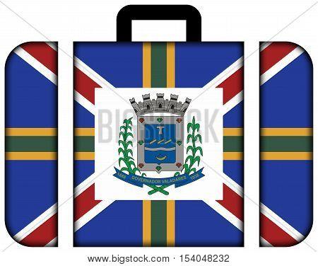 Flag Of Governador Valadares, Minas Gerais State, Brazil. Suitcase Icon, Travel And Transportation C