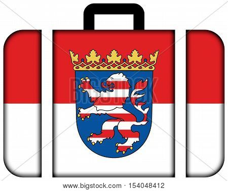 Flag Of Hesse With Coat Of Arms, Germany. Suitcase Icon, Travel And Transportation Concept