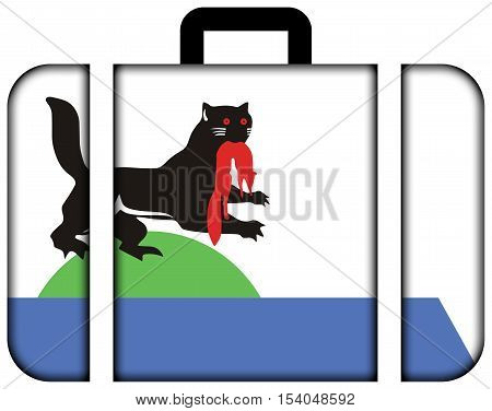 Flag Of Irkutsk, Irkutsk Oblast, Russia. Suitcase Icon, Travel And Transportation Concept