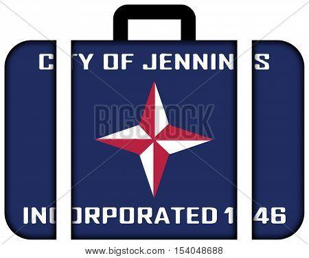 Flag Of Jennings, Missouri, Usa. Suitcase Icon, Travel And Transportation Concept