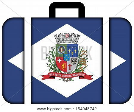 Flag Of Joinville, Santa Catarina State, Brazil. Suitcase Icon, Travel And Transportation Concept
