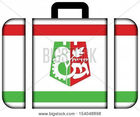 Flag Of Kiryat Gat, Israel. Suitcase Icon, Travel And Transportation Concept