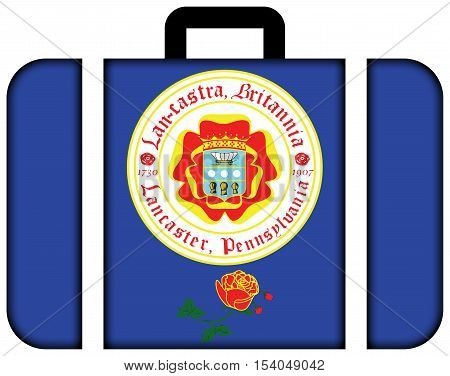 Flag Of Lancaster, Pennsylvania, Usa. Suitcase Icon, Travel And Transportation Concept