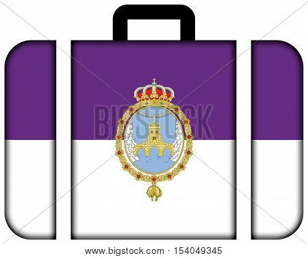 Flag Of Loja, Spain. Suitcase Icon, Travel And Transportation Concept