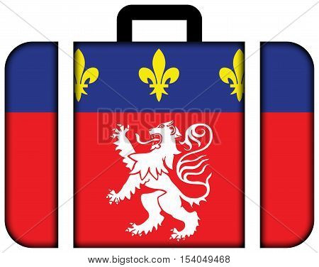 Flag Of Lyonnais, France. Suitcase Icon, Travel And Transportation Concept