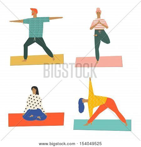 People doing yoga and meditation poster. Yoga class illustration in vector. Yoga poses. Healthy life style. Group of people doing yoga workout at yoga studio. Flat cut out style illustration.