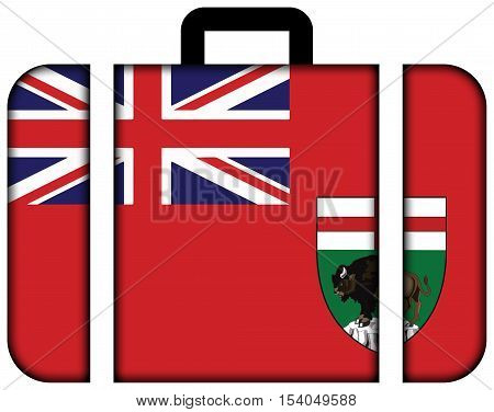 Flag Of Manitoba Province, Canada. Suitcase Icon, Travel And Transportation Concept