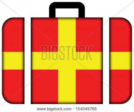 Flag Of Messina, Sicily, Italy. Suitcase Icon, Travel And Transportation Concept