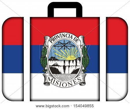Flag Of Misiones Province With Coat Of Arms, Argentina. Suitcase Icon, Travel And Transportation Con