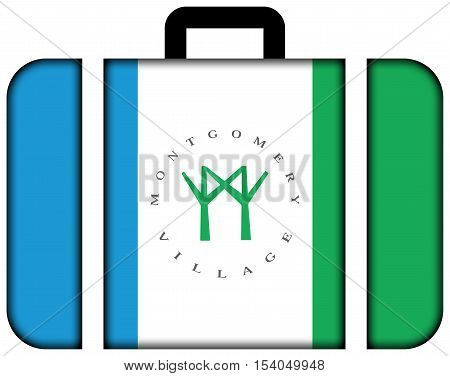 Flag Of Montgomery Village, Maryland, Usa. Suitcase Icon, Travel And Transportation Concept