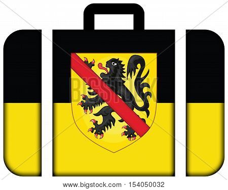 Flag Of Namur With Coat Of Arms, Wallonia Region, Belgium. Suitcase Icon, Travel And Transportation