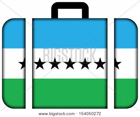 Flag Of Nueva Loja, Ecuador. Suitcase Icon, Travel And Transportation Concept