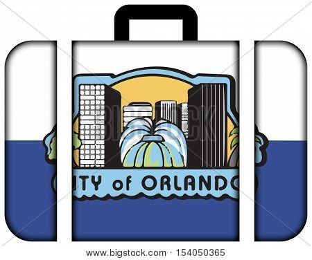 Flag Of Orlando, Florida, Usa. Suitcase Icon, Travel And Transportation Concept