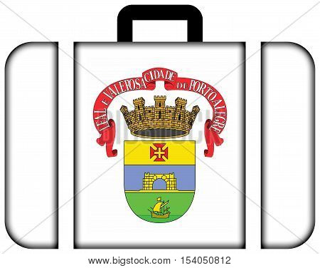 Flag Of Porto Alegre, Rio Grande Do Sul, Brazil. Suitcase Icon, Travel And Transportation Concept