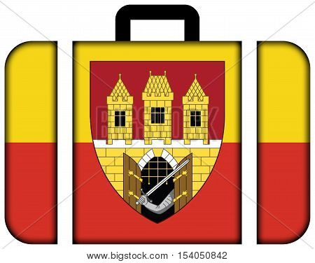 Flag Of Prague With Coat Of Arms (escutcheon Only), Czechia. Suitcase Icon, Travel And Transportatio