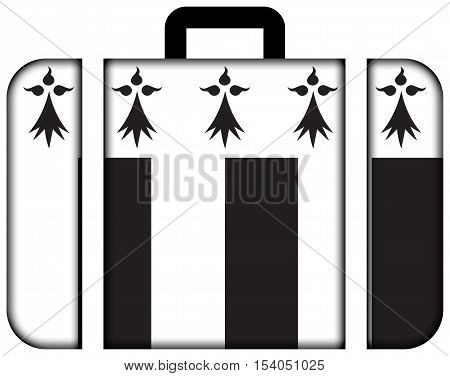 Flag Of Rennes, France. Suitcase Icon, Travel And Transportation Concept