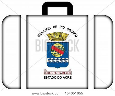 Flag Of Rio Branco, Acre, Brazil. Suitcase Icon, Travel And Transportation Concept