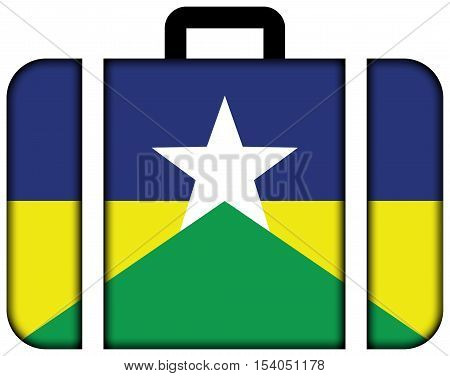 Flag Of Rondonia State, Brazil. Suitcase Icon, Travel And Transportation Concept