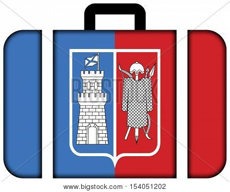 Flag Of Rostov On Don, Russia. Suitcase Icon, Travel And Transportation Concept