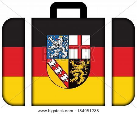 Flag Of Saarland, Germany. Suitcase Icon, Travel And Transportation Concept