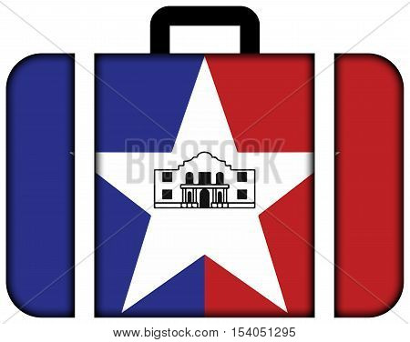 Flag Of San Antonio, Texas, Usa. Suitcase Icon, Travel And Transportation Concept