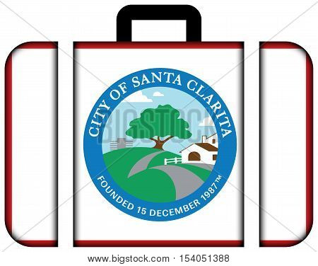 Flag Of Santa Clarita, California, Usa. Suitcase Icon, Travel And Transportation Concept