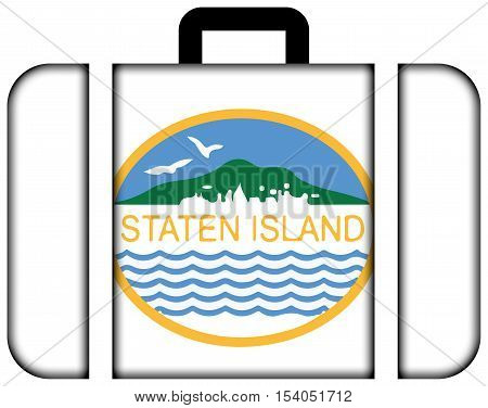 Flag Of Staten Island, New York, Usa. Suitcase Icon, Travel And Transportation Concept