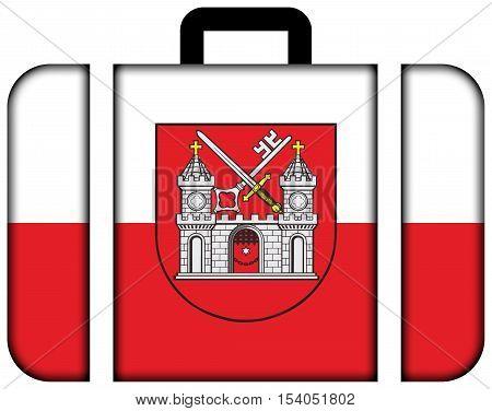 Flag Of Tartu, Estonia. Suitcase Icon, Travel And Transportation Concept