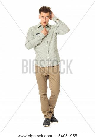 Funny Men Dressed In Green Shirt With Emotion Isolated