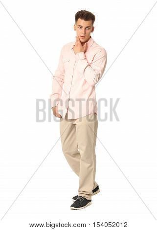 Funny Men Dressed In Pink Shirt With Emotion Isolated