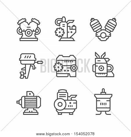 Set line icons of motor and engine isolated on white. Vector illustration